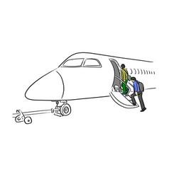 people walking on ladder airplane vector image