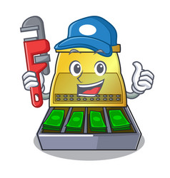 plumber cartoon cash register with a money drawer vector image