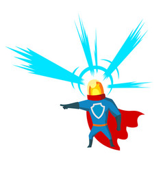 pointing superhero with head light character vector image