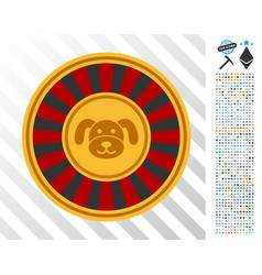 Puppy roulette flat icon with bonus vector