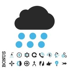 Rain Cloud Flat Icon With Bonus vector image
