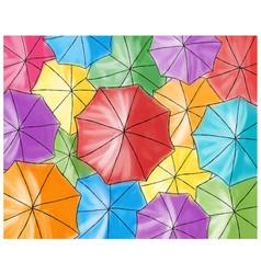 Red umbrella in the colored umbrellas - pattern vector