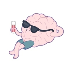 Relaxing with a glass of juice Brain collection vector
