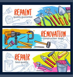 Repair work banner with construction tool sketch vector