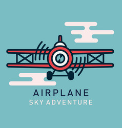 retro airplane flat image vector image