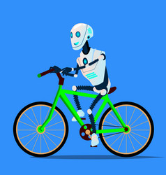 robot riding a bicycle isolated vector image