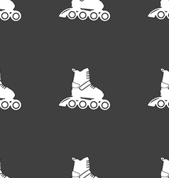 roller skate icon sign Seamless pattern on a gray vector image