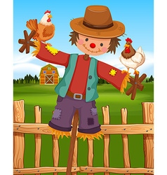 Scarecrow and chickens on the farm vector