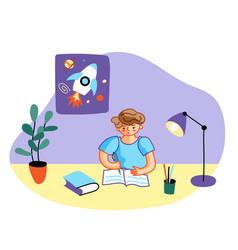 School boy doing homework flat vector