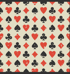 Seamless grunge pattern with card suits - hearts vector