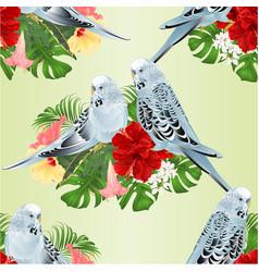 Seamless texture budgerigars on a bouquet vector