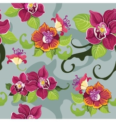 Seamless tropical flower pattern vector