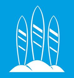 Serfing board icon white vector