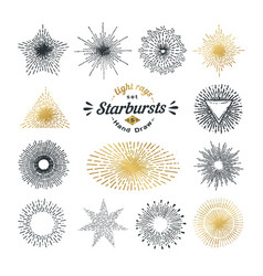set handmade sunburst design elements vector image