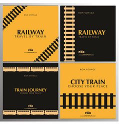 Set minimalistic railway banners travel by vector