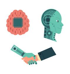 set of artificial intelligence images of handshake vector image