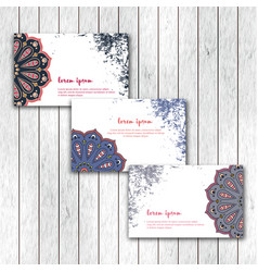 set of business cards with hand drawn mandala vector image
