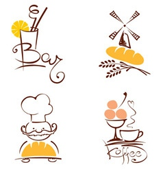 Set of pictures - cafes and bakeries vector