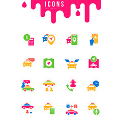 set simple icons taxi services vector image