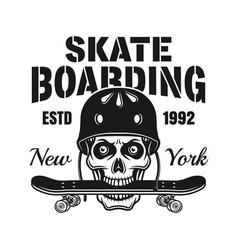 skull with skate deck in teeth emblem vector image