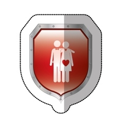 Sticker metallic shield with pictogram husband and vector