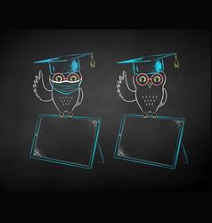 student owl sitting on digital tablet vector image