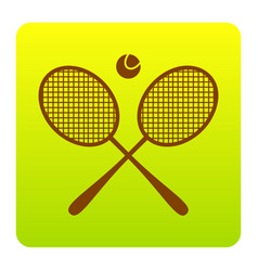 tennis racket sign brown icon at green vector image