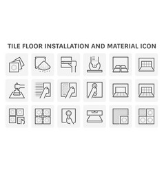 Tile floor installation and material icon set vector
