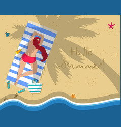 top view of young woman in red bikini on beach vector image