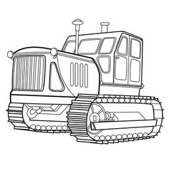 tractor sketch coloring isolated object on a vector image