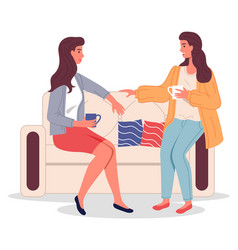 two girl friends sitting on sofa drinking coffee vector image