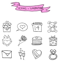 Valentine icons element of hand draw vector