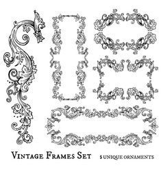 vintage frames set detailed and ornated vector image