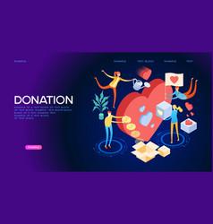 volunteering concept isometric banner vector image