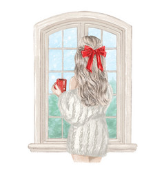 winter day beautiful girl having relax at home vector image