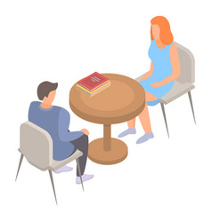 Woman man talking meet icon isometric style vector