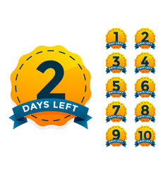 yellow badge set for number of days left vector image