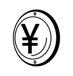 Yen coin isolated icon vector