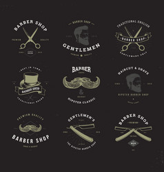 barber shop logo set invert vector image