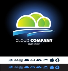 Cloud hosting storage logo icon set vector image vector image