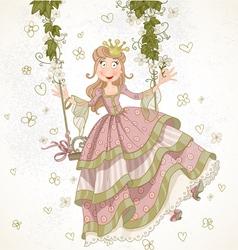 Cute princess swinging on a swing drawing vector image
