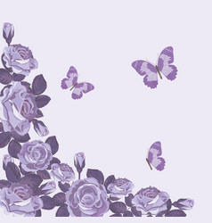 Floral card template with violet roses and vector