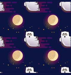 ghost seamless pattern cute cartoon fluing ghost vector image vector image
