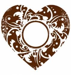 grunge valentine heart frame backgroun vector image vector image