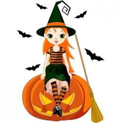 little halloween witch on pumpkin vector image vector image