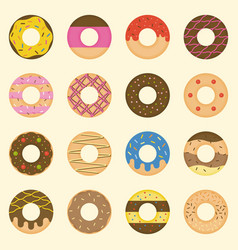 set of donut collection icon vector image