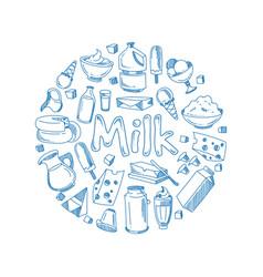 Sketch milk products farm breakfast vector