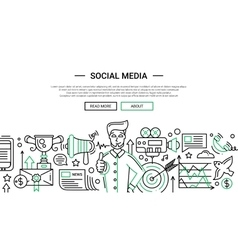 Social Media - line design website banner temlate vector image vector image