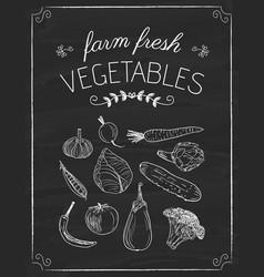 vegetables doodle on the black board vector image vector image