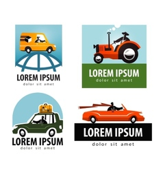 car logo design template tractor or vector image